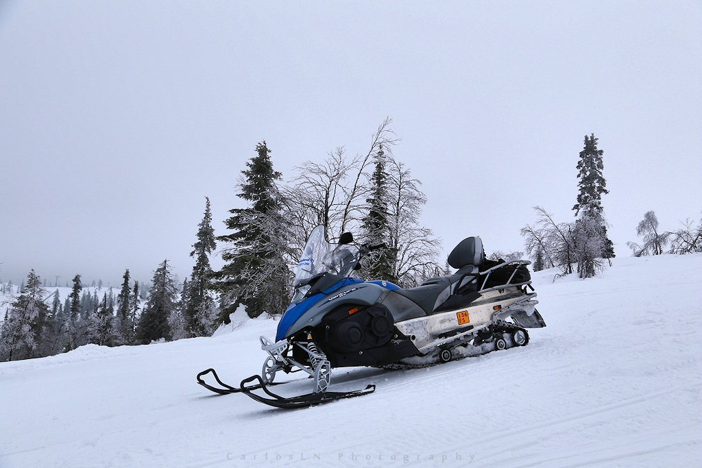 Snowmobile at top of Levi mountain